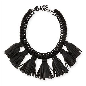Cocoa jewelry Lucinda tassel bib necklace black